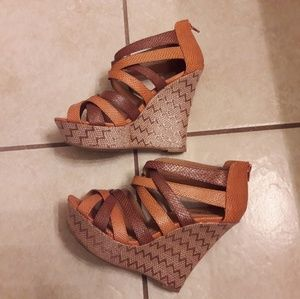Charlotte Russe/Exotic Print/ Strappy /Wedge Heels
